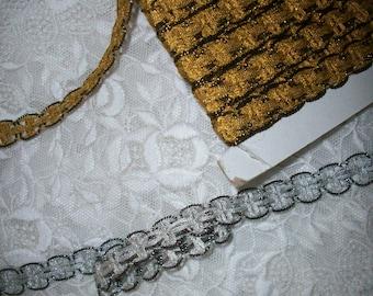 vintage silver or gold metallic trim two-tone effect