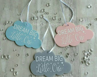 Dream Big Little One Hanging Cloud, Nursery Decor, New Baby, Baby Shower, Acrylic Hanging Cloud