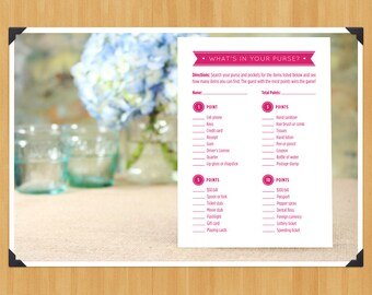 """Printable Bridal Shower """"What's in Your Purse?"""" Game, DIY, Instant Download, Printable PDF, Hot Pink"""