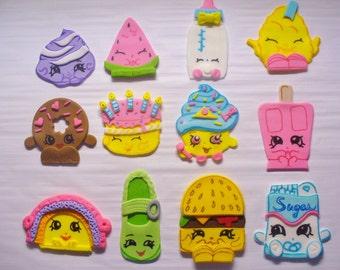 12 SHOPKINS Edible Fondant Cupcake Toppers