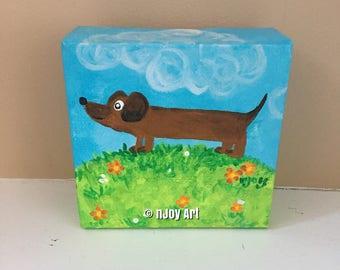 Dachshund, whimsical wiener dog painting, 4x4 inch acrylic art
