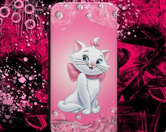 Disney The Aristocat Marie Cartoon Pink Diamond Girly Cool Flip Wallet Phone Case Cover For iPhone & Samsung Model Fast Safe Tracked Postage