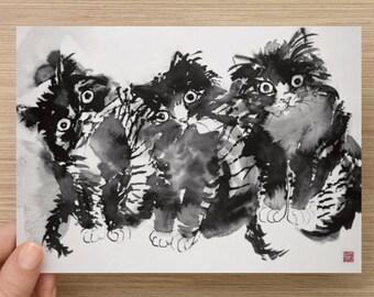 "Medium postcard (7"" x 5"")  Card with my cat art Postcards"