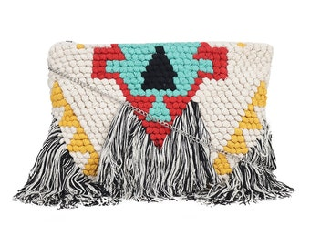 Fringe Bag, Wild West Bag, Festival Bag, Woven Bag, Boho Chic Bag, Boho Bag, Multicolor Bag, Aztec Print Bag, Tribal Fusion, Crossbody Bag,