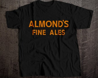 Almond's Fine Ales Beer T-Shirt | Ringspun Unisex and Ladies Fit Tee | Vintage Bar and Brewery Label Clothing