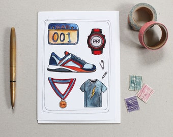 Father's Day Card - Greeting Card - Card for Dad - Blank Card - Gift for Dad - Card for Marathon Runner - Dad Runner Card