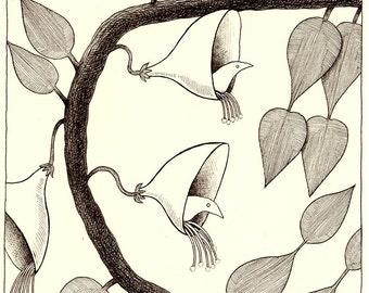 Original drawing - His garden flowers 4