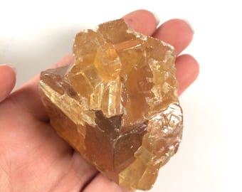"Golden honey calcite raw natural one stone 1.5"""