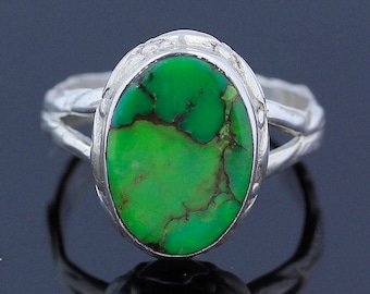 Green Copper Composite Turquoise Silver Ring // 925 Sterling Silver // Ring Size 7.5 // Handmade Jewelry