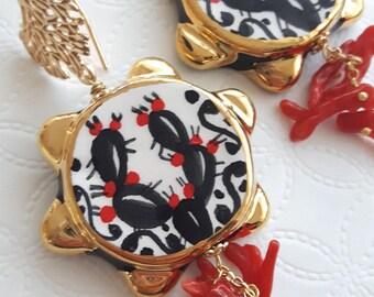 Caltagirone Ceramic earrings, coral and silver earrings, Sicilian earrings