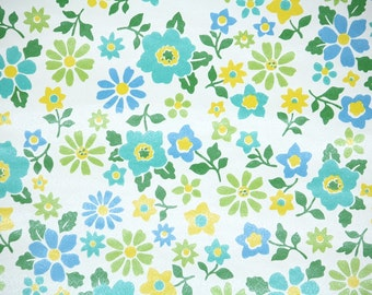 Retro Wallpaper by the Yard 70s Vintage Wallpaper - 1970s Blue Yellow and Green Flowers on White