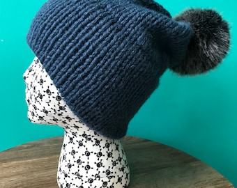 Indigo Blue Double Brim Slouch Knit Hat with Faux Fur Pom Pom (choose your pom pom color)