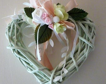 Wicker heart seafoam roses, ribbons: happiness