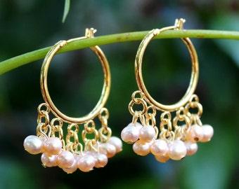 Freshwater Pearl Hoop Dangle Earrings.18K Gold Plated.Chandelier Earring.Statement.Bridal.Cluster Earring.Beadwork.Gift.Dainty.Handmade.