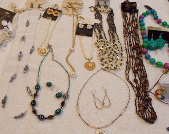Vintage lot 11 necklace/earring sets, choker short and longer, beaded and pendant, multi strand and single, variety