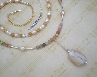 Sweet dreams beaded necklace set, pink opal, lepidolite, pearls, vintage beads, feather charm, unique jewelry by Grey Girl Designs on Etsy