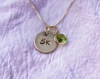 5K or 10K Small Silver Circle Runner's necklace