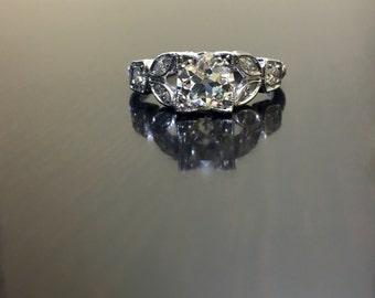 Platinum Diamond Engagement Ring - Art Deco Platinum Diamond Wedding Ring - Art Deco Platinum Diamond Ring - Hand Engraved Platinum Ring