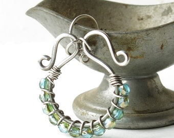 Aqua beaded earrings - sterling silver wire wrapped sparkling faceted Czech glass bead hoops