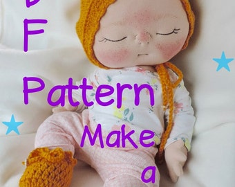PDF Pattern- How to Make a Newborn BeBe Baby Doll by BeBe Babies and Friends Soft Sculpture Baby Doll Pattern Cloth Doll Waldorf Doll