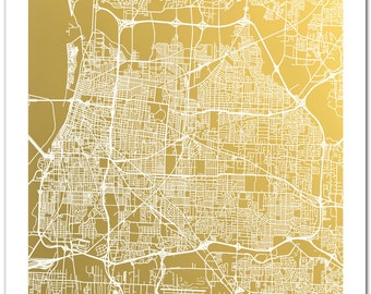 Memphis Map, Gold Foil Map of Memphis Tennessee, Memphis City Map, Map Art, Memphis Map Wall Art, Poster, Foil Pressed Map