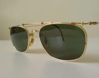 Rare Vintage Ray-Ban B&L W1537 Deco Metal Gold Arista Sunglasses VGC