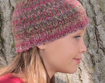 Handspun Handknit Kids Gray Beanie Cap with Pink/Purple/Green Design.