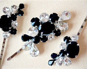 Black and White Rhinestone Bobby Pins,Black Crystal Bobby Pins,Black and White Bridal Bobby Pins,Black and White Hair Accessories