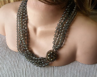 "Vintage 60's ""MULTI STRAND NECKLACE"" Smokey Grey Color with Dual Look Six Strand"