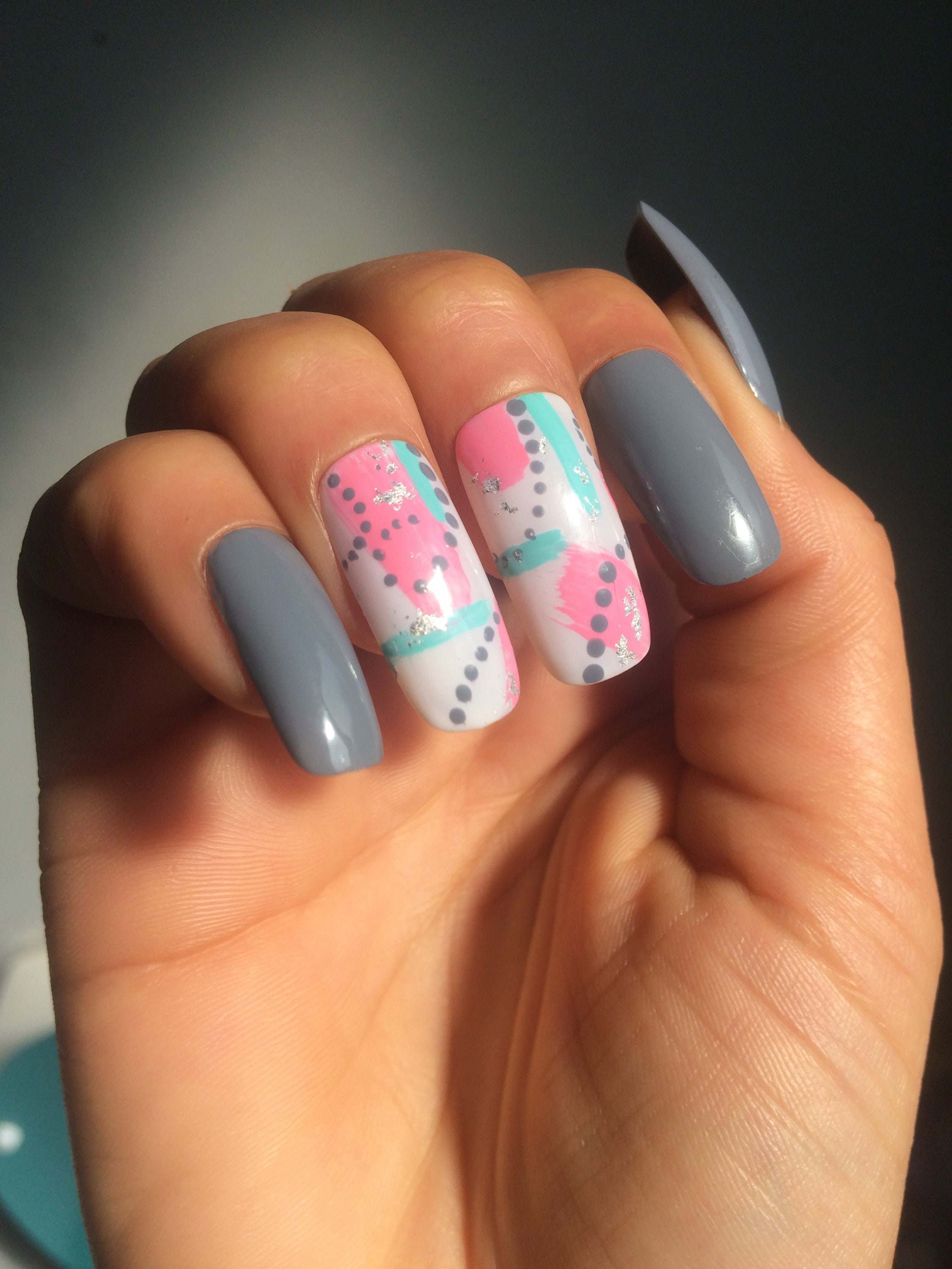 Grey Nails with freehand nail art design from LousNails4U on Etsy Studio