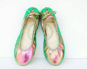 Iridescent silver leather ballerina flat shoes custom made