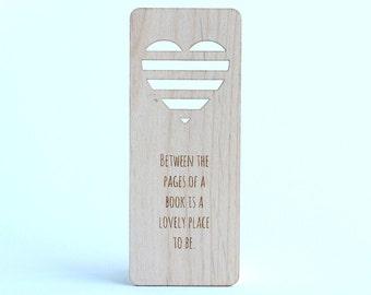 Wood Bookmark - Heart Wooden bookmark - Quote bookmark - Wooden bookmark