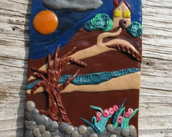"The Path polymer clay aceo tiny house landscape 2.5"" x 3.5"" original sculpture art"