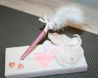 wedding pen holder, guestbook, white powder pink, Orchid feather