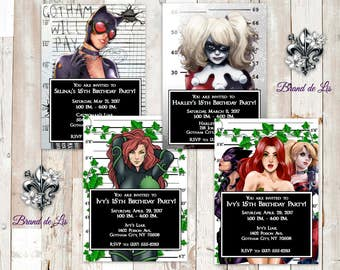 Gotham City Sirens Invitations Harley Quinn Catwoman Poison Ivy DC comics Villains Batman Joker Arkham City Gotham Mugshot Prints Only