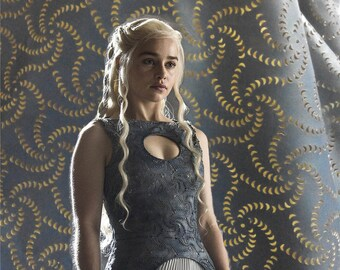 Game of Thrones Daenerys Targaryen dress fabric in Season 4, Daenerys Mereen laser cut dress fabric 1 yard