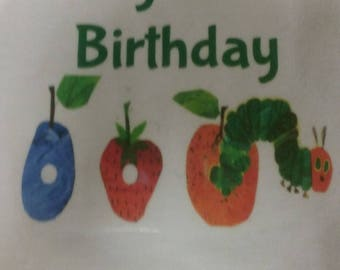 Boys Hungry Caterpillar First Birthday Outfit Bodysuit and Denim Shorts Custom