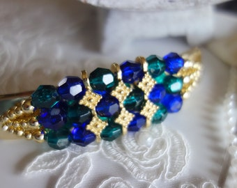 Hair Jewelry-party jewelry-vintage but unused-clasp art beads-blue, green turquoise, emerald color and gold