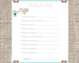 Wishes for Baby Cards/Baby Shower Wishes for Baby Cards/Bird/Baby Girl/Baby Shower Games/Little Birdie/Baby Shower/Pink/Baby Shower Invite