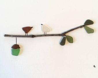 Sea glass art 'Home' unframed twig birds birdhouse family