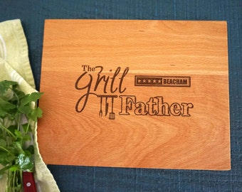 Personalized The Grill Father Cutting Board, Father's Day Present, Grilling Birthday Gift For Him,Dad's BBQ Cutting Board, Groomsman Present