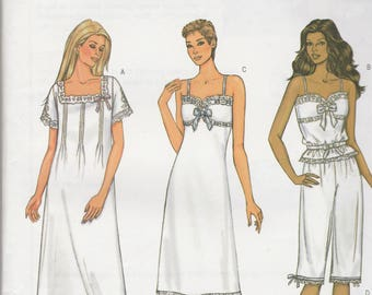 Butterick 3612 Vintage Pattern Womens Night Gown and  Pajamas In Variations Size 18,20,22 UNCUT