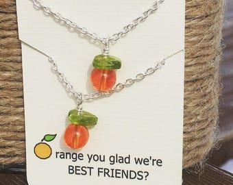 Best Friend BFF Orange Necklaces