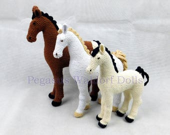Ecofriendly Realistic Crochet Horse (unicorn, pegasus, hand made, steiner, waldorf)