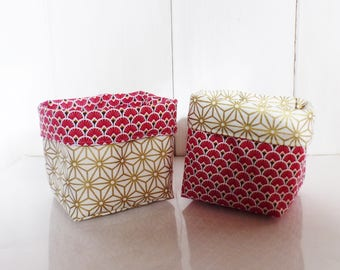 2 planters / baskets fabrics-12 cm x 10 cm - scales and Asanohas Red Star and gold - Christmas Decor patterns