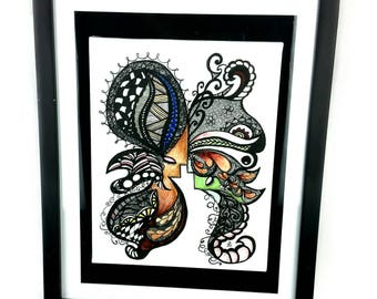 "Zentangle Butterfly. Mixed Media. Ready To Hang Art. Framed Butterfly Art. Zentangle Art. Zendoodle Art. ""Madam Butterfly"""