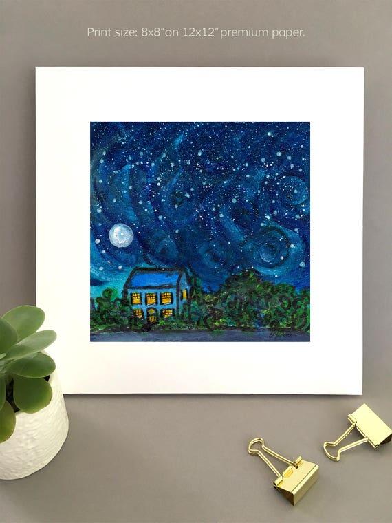 Van Gogh Night, starry night art, blue night sky constellation night wall art, charming artwork , art for my house FREE Shipping