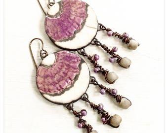 Delilah - Pink ceramic earrings - pink boho dangles - ceramic dangles