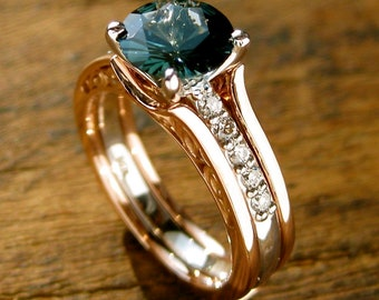 Teal Blue Sapphire Engagement Ring with Diamonds in 14K White Gold and Wedding Band Wrap Jacket in 14K Rose Gold Size 6