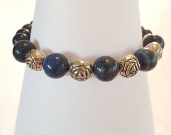 Lapis Beaded Bracelet, Rose Bracelet, Magnetic, Stackable Bracelet.  Item # B009